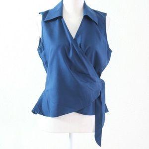 Dana Buchman Blue Silk Wrap Top Size 6